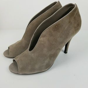 Tesori suede leather deep v ankle booties